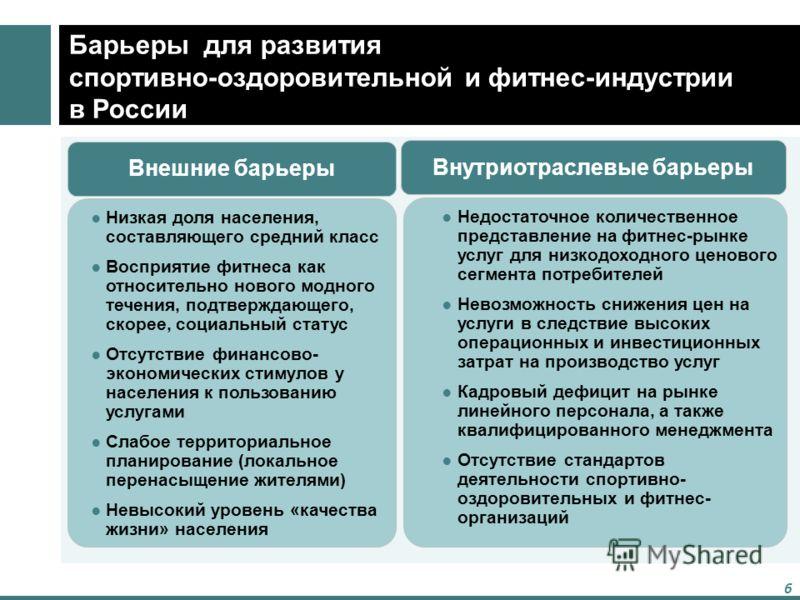 6 Барьеры для развития спортивно-оздоровительной и фитнес-индустрии в России Низкая доля населения, составляющего средний класс Восприятие фитнеса как относительно нового модного течения, подтверждающего, скорее, социальный статус Отсутствие финансов