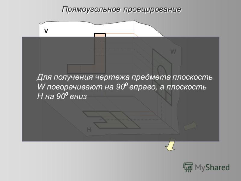 Прямоугольное проецирование Н W V Для получения чертежа предмета плоскость W поворачивают на 90 0 вправо, а плоскость Н на 90 0 вниз