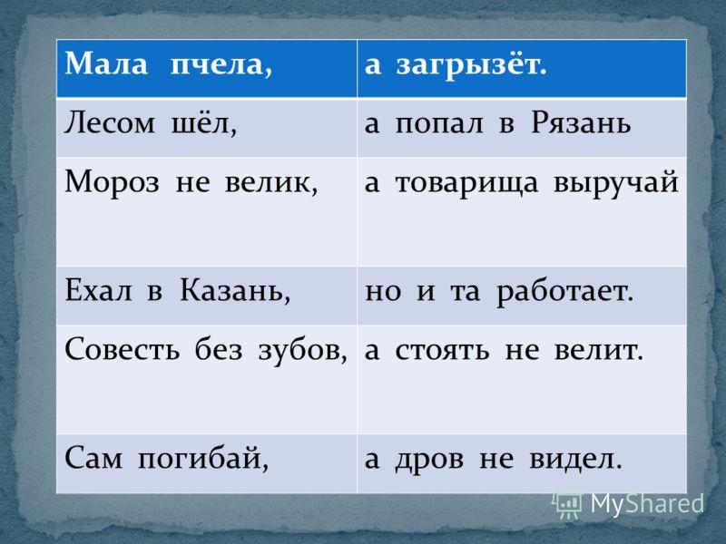 Мала пчела,а загрызёт. Лесом шёл,а попал в Рязань Мороз не велик,а товарища выручай Ехал в Казань,но и та работает. Совесть без зубов,а стоять не велит. Сам погибай,а дров не видел.