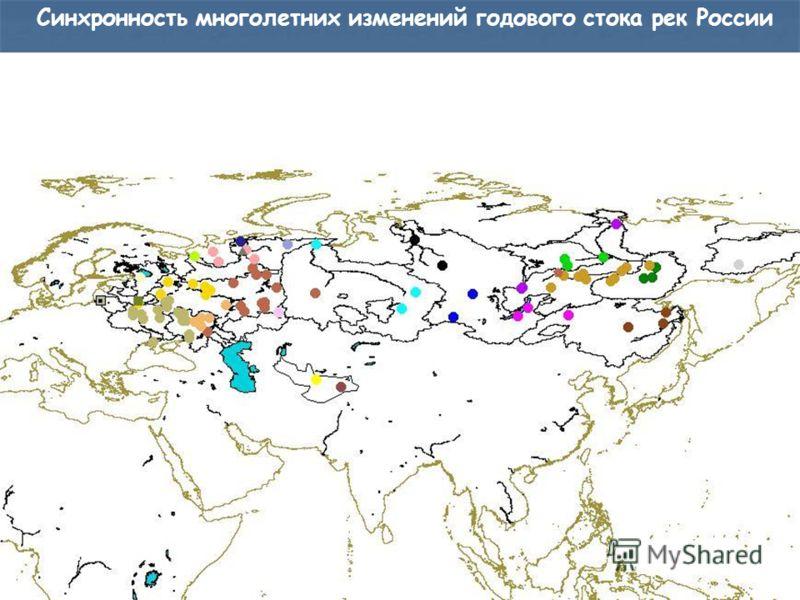 Синхронность многолетних изменений годового стока рек России