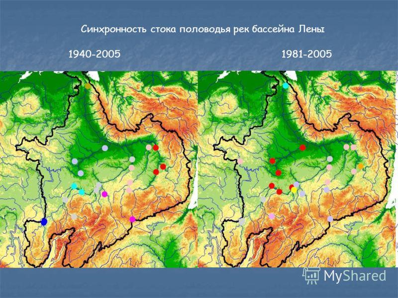 Синхронность стока половодья рек бассейна Лены 1940-20051981-2005