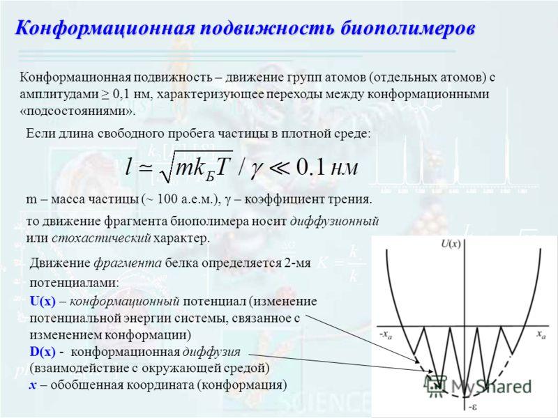 Конформационная подвижность биополимеров Конформационная подвижность – движение групп атомов (отдельных атомов) с амплитудами 0,1 нм, характеризующее переходы между конформационными «подсостояниями». Если длина свободного пробега частицы в плотной ср