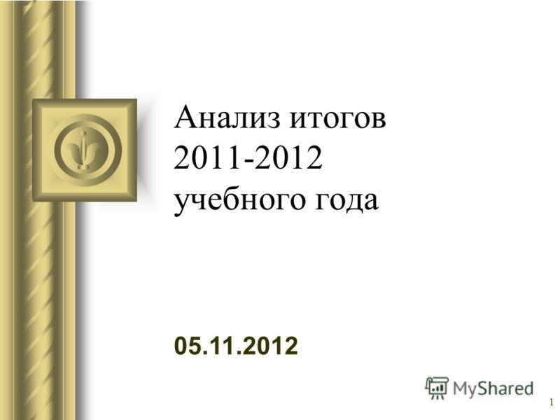 05.11.2012 1 Анализ итогов 2011-2012 учебного года