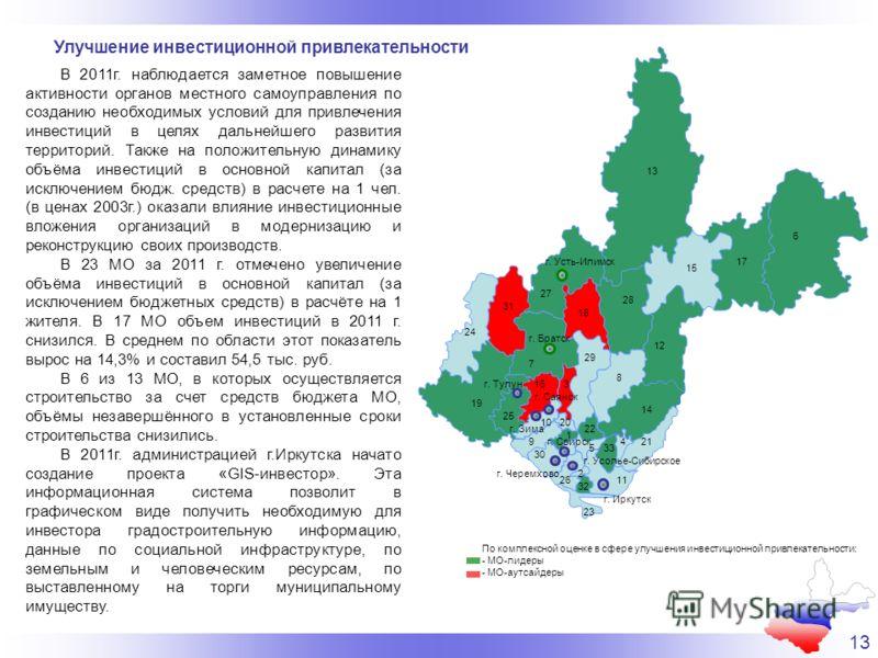 13 Улучшение инвестиционной привлекательности В 2011г. наблюдается заметное повышение активности органов местного самоуправления по созданию необходимых условий для привлечения инвестиций в целях дальнейшего развития территорий. Также на положительну