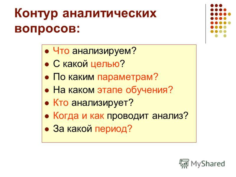 Контур аналитических вопросов: Что анализируем? С какой целью? По каким параметрам? На каком этапе обучения? Кто анализирует? Когда и как проводит анализ? За какой период?