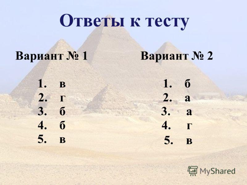 Ответы к тесту Вариант 1 1. в 2. г 3. б 4. б 5. в Вариант 2 1. б 2. а 3. а 4. г 5. в