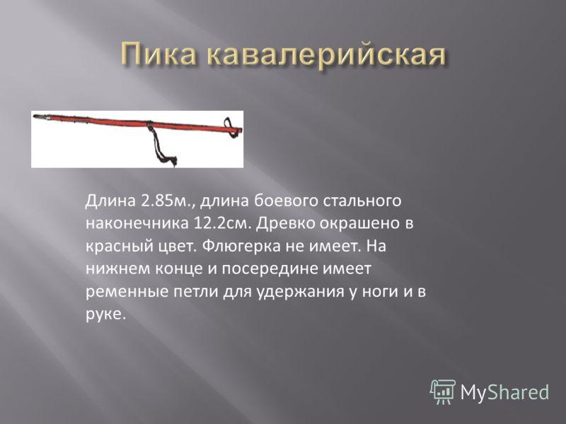 Длина 2.85м., длина боевого стального наконечника 12.2см. Древко окрашено в красный цвет. Флюгерка не имеет. На нижнем конце и посередине имеет ременные петли для удержания у ноги и в руке.