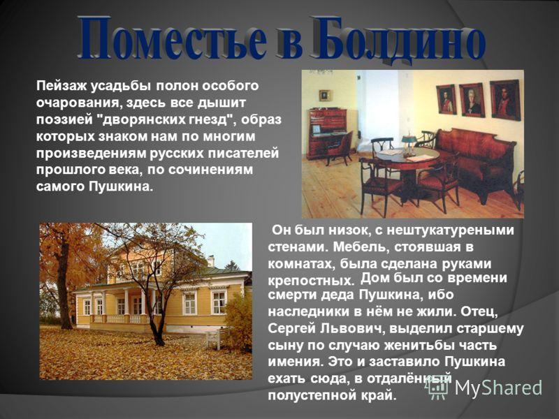 Дом был со времени смерти деда Пушкина, ибо наследники в нём не жили. Отец, Сергей Львович, выделил старшему сыну по случаю женитьбы часть имения. Это и заставило Пушкина ехать сюда, в отдалённый полустепной край. Пейзаж усадьбы полон особого очарова
