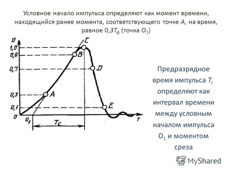 Условное начало импульса определяют как момент времени, находящийся ранее момента, соответствующего точке А, на время, равное 0,3Т ф (точка О 1 ) Предразрядное время импульса Т с определяют как интервал времени между условным началом импульса О 1 и м