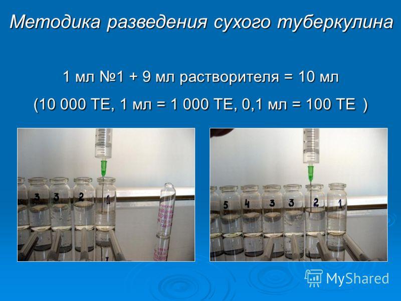 1 мл 1 + 9 мл растворителя = 10 мл (10 000 ТЕ, 1 мл = 1 000 ТЕ, 0,1 мл = 100 ТЕ ) Методика разведения сухого туберкулина