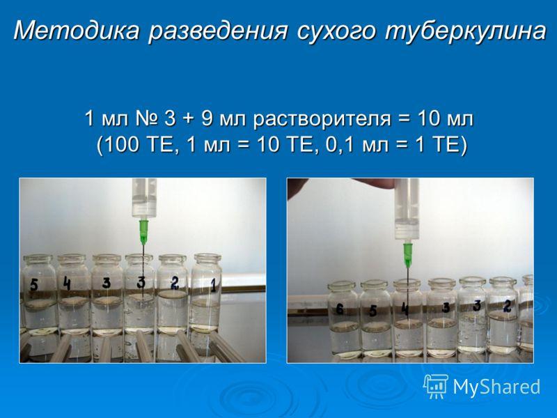 1 мл 3 + 9 мл растворителя = 10 мл (100 ТЕ, 1 мл = 10 ТЕ, 0,1 мл = 1 ТЕ) Методика разведения сухого туберкулина