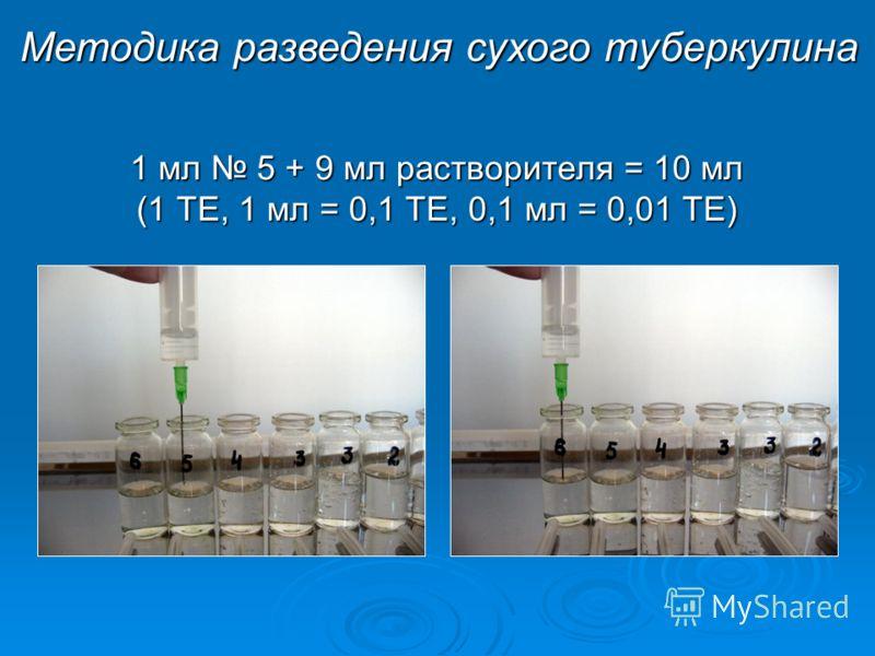 1 мл 5 + 9 мл растворителя = 10 мл (1 ТЕ, 1 мл = 0,1 ТЕ, 0,1 мл = 0,01 ТЕ) Методика разведения сухого туберкулина