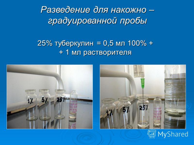 25% туберкулин = 0,5 мл 100% + + 1 мл растворителя Разведение для накожно – градуированной пробы
