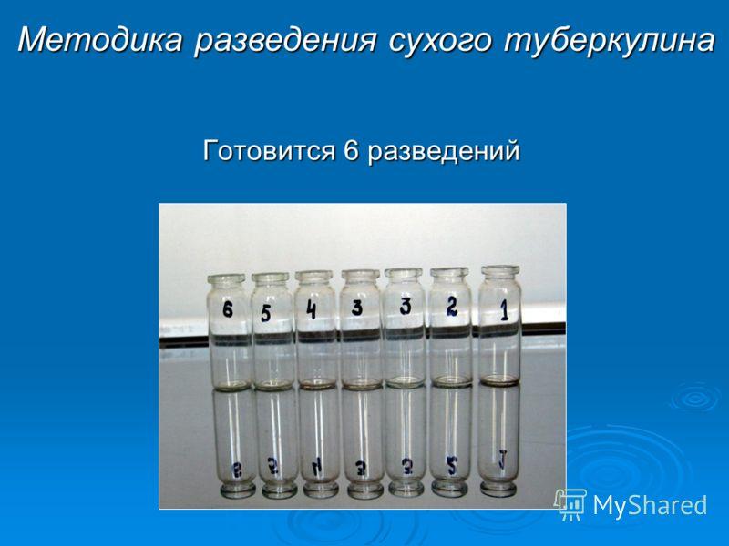 Готовится 6 разведений Методика разведения сухого туберкулина