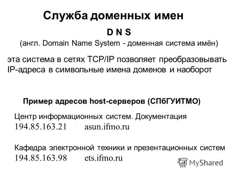 Служба доменных имен D N S (англ. Domain Name System - доменная система имён) эта система в сетях TCP/IP позволяет преобразовывать IP-адреса в символьные имена доменов и наоборот Пример адресов host-серверов (СПбГУИТМО) Центр информационных систем. Д