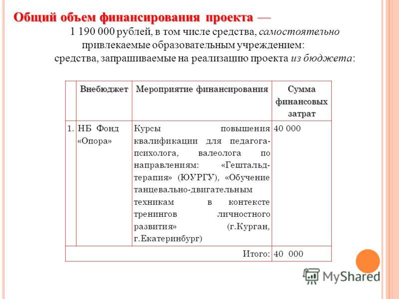 1 190 000 рублей, в том числе средства, самостоятельно привлекаемые образовательным учреждением: средства, запрашиваемые на реализацию проекта из бюджета: Общий объем финансирования проекта Общий объем финансирования проекта Внебюджет Мероприятие фин