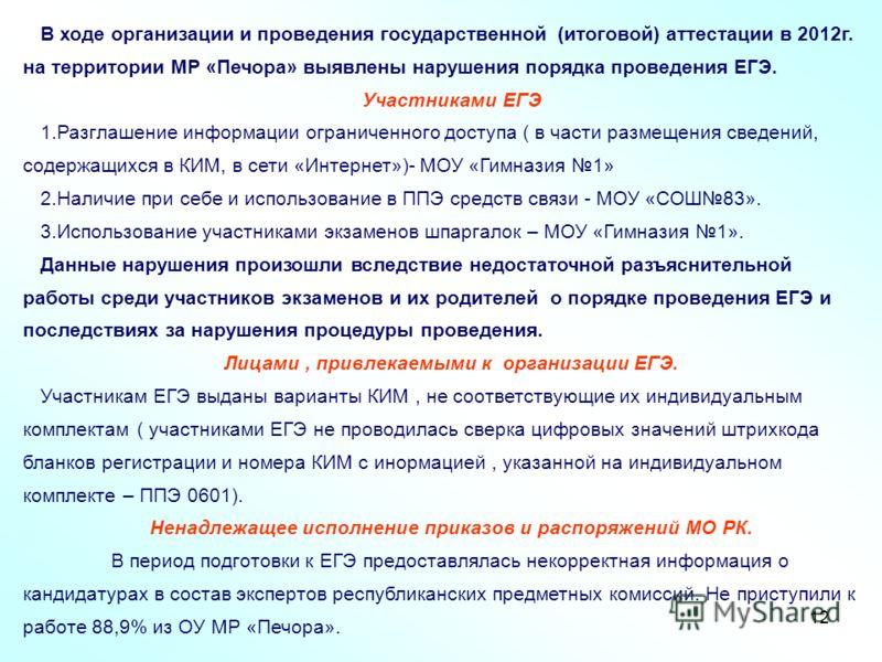 12 В ходе организации и проведения государственной (итоговой) аттестации в 2012г. на территории МР «Печора» выявлены нарушения порядка проведения ЕГЭ. Участниками ЕГЭ 1.Разглашение информации ограниченного доступа ( в части размещения сведений, содер
