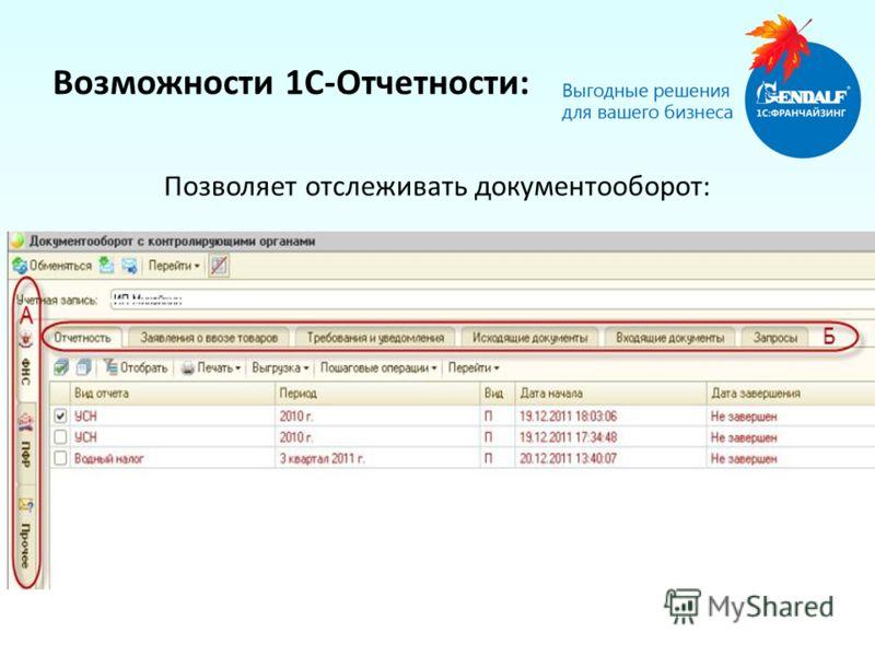 Возможности 1С-Отчетности: Позволяет отслеживать документооборот: