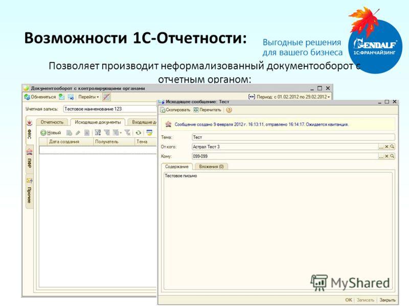 Позволяет производит неформализованный документооборот с отчетным органом: Возможности 1С-Отчетности:
