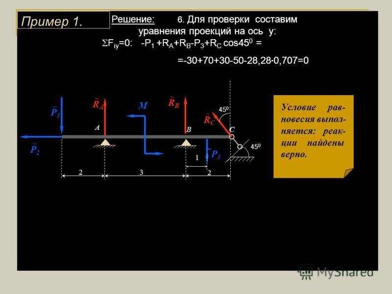 Решение: 6. Для проверки составим уравнения проекций на ось у: F iу =0: -P 1 +R A +R B -P 3 +R C cos45 0 = =-30+70+30-50-28,28 0,707=0 Пример 1. 1 3 2 М 2 А ВС Р 2 Р 1 Р 3 45 0 R A R B R C 45 0 Условие рав- новесия выпол- няется: реак- ции найдены ве