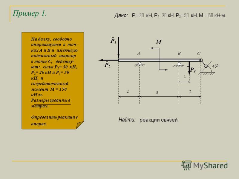 Пример 1. 1 3 2 М 2 А ВС Р 2 Р 1 Р 3 45 0 На балку, свободно опирающуюся в точ- ках А и В и имеющую подвижный шарнир в точке С, действу- ют: силы Р 1 = 30 кН, Р 2 = 20 кН и Р 3 = 50 кН, и сосредоточенный момент М = 150 кНм. Размеры заданны в метрах.