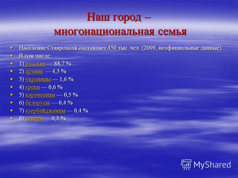 Наш город – многонациональная семья Население Ставрополя составляет 450 тыс. чел. (2009, неофициальные данные). Население Ставрополя составляет 450 тыс. чел. (2009, неофициальные данные). В том числе: В том числе: 1) русские 88,7 % 1) русские 88,7 %р