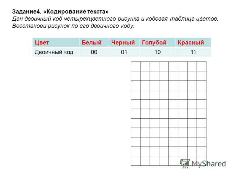 Задание4. «Кодирование текста» Дан двоичный код четырехцветного рисунка и кодовая таблица цветов. Восстанови рисунок по его двоичного коду. ЦветБелыйЧерныйГолубойКрасный Двоичный код00011011