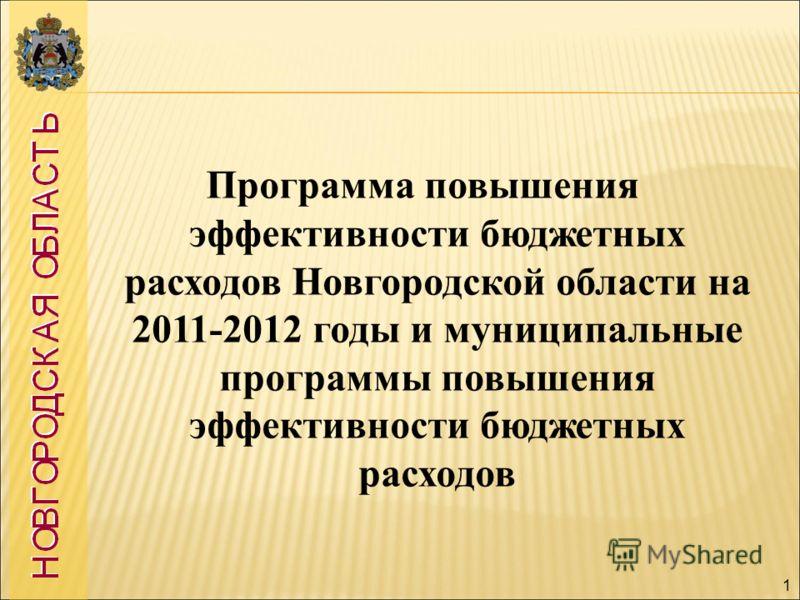 1 Программа повышения эффективности бюджетных расходов Новгородской области на 2011-2012 годы и муниципальные программы повышения эффективности бюджетных расходов