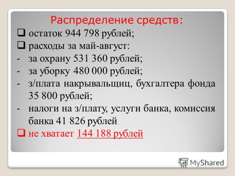 Распределение средств: остаток 944 798 рублей; расходы за май-август: -за охрану 531 360 рублей; -за уборку 480 000 рублей; -з/плата накрывальщиц, бухгалтера фонда 35 800 рублей; -налоги на з/плату, услуги банка, комиссия банка 41 826 рублей не хвата