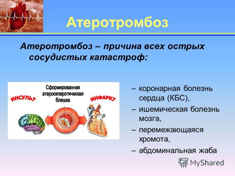 Атеротромбоз Атеротромбоз – причина всех острых сосудистых катастроф: –коронарная болезнь сердца (КБС), –ишемическая болезнь мозга, –перемежающаяся хромота, –абдоминальная жаба