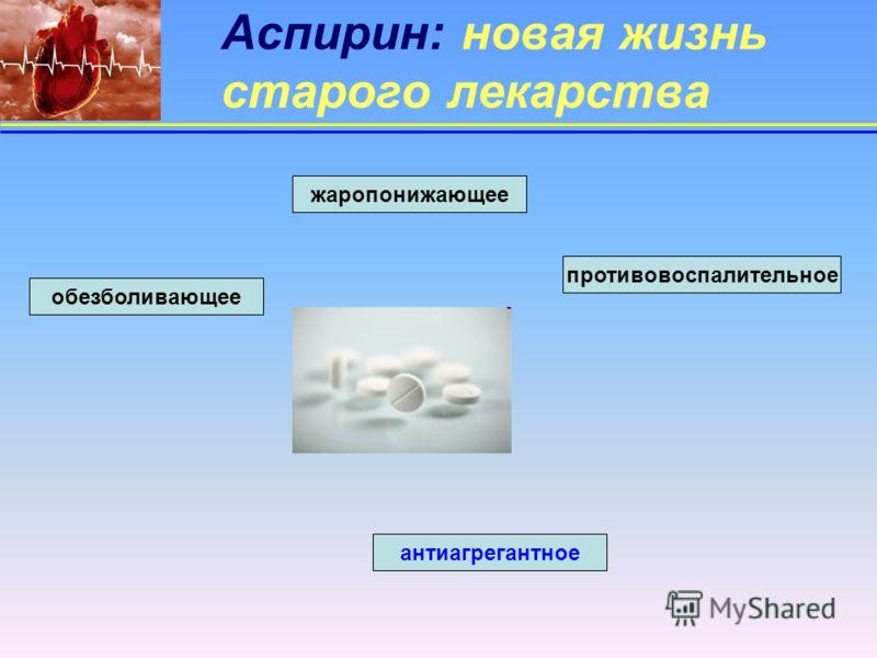 Аспирин: новая жизнь старого лекарства жаропонижающее антиагрегантное обезболивающее противовоспалительное