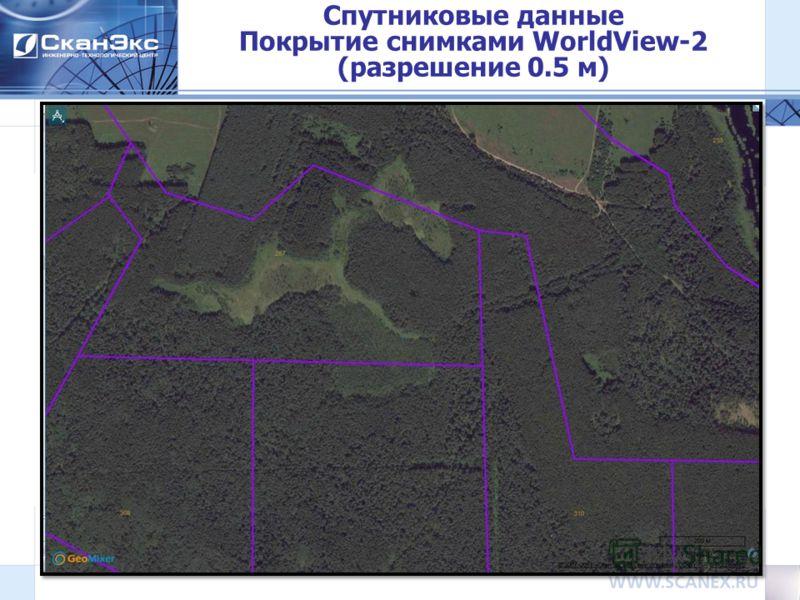 Спутниковые данные Покрытие снимками WorldView-2 (разрешение 0.5 м) 10