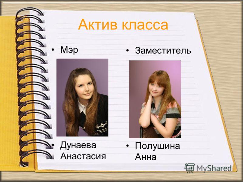 Заместитель Полушина Анна Актив класса Мэр Дунаева Анастасия