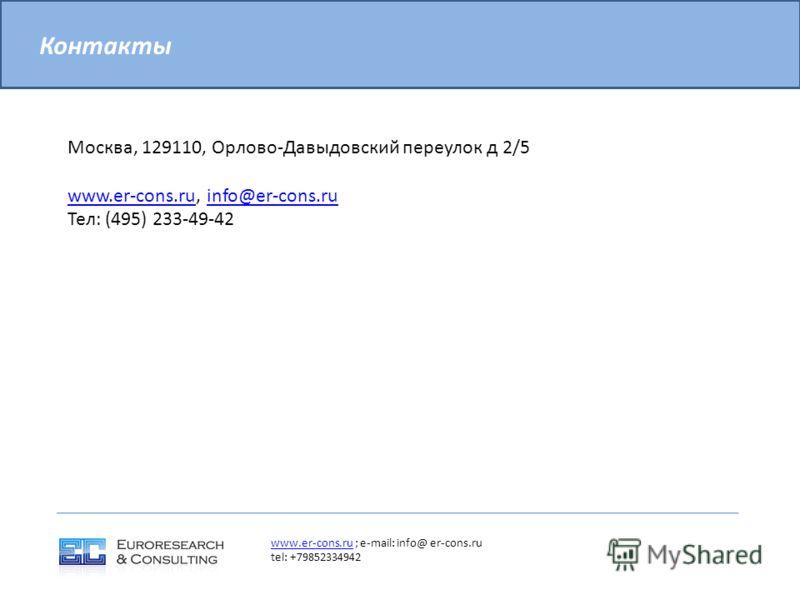 Москва, 129110, Орлово-Давыдовский переулок д 2/5 www.er-cons.ruwww.er-cons.ru, info@er-cons.ruinfo@er-cons.ru Тел: (495) 233-49-42 Контакты www.er-cons.ruwww.er-cons.ru ; e-mail: info@ er-cons.ru tel: +79852334942