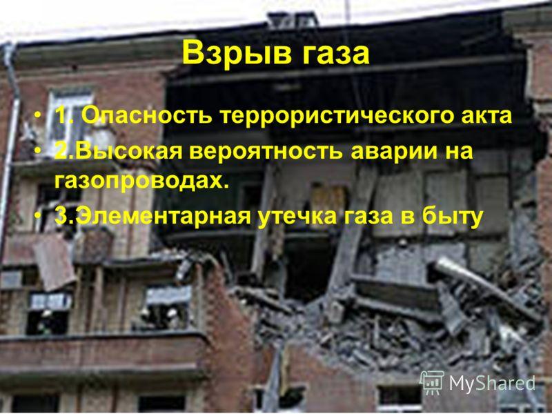 Взрыв газа 1. Опасность террористического акта 2.Высокая вероятность аварии на газопроводах. 3.Элементарная утечка газа в быту