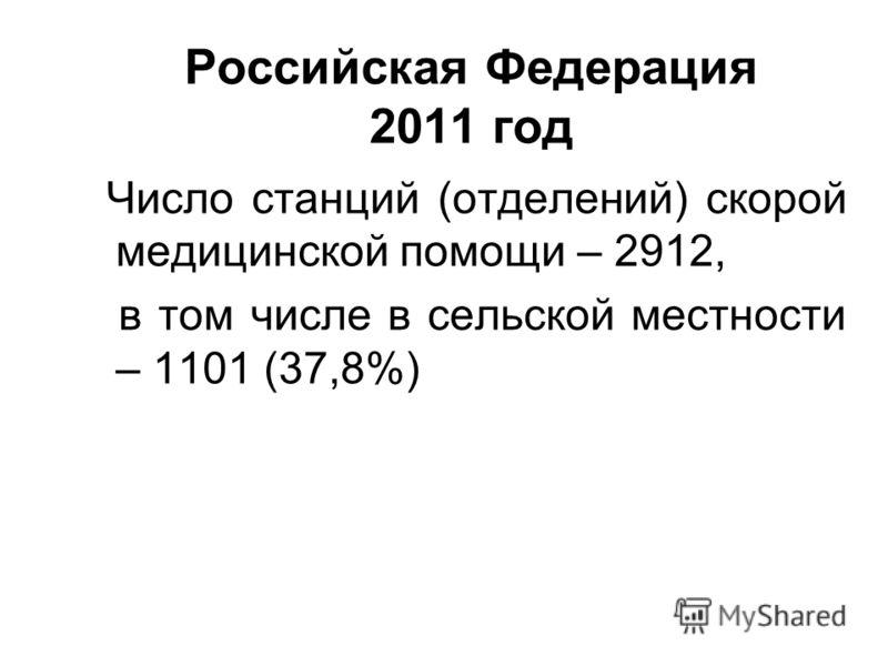 Российская Федерация 2011 год Число станций (отделений) скорой медицинской помощи – 2912, в том числе в сельской местности – 1101 (37,8%)