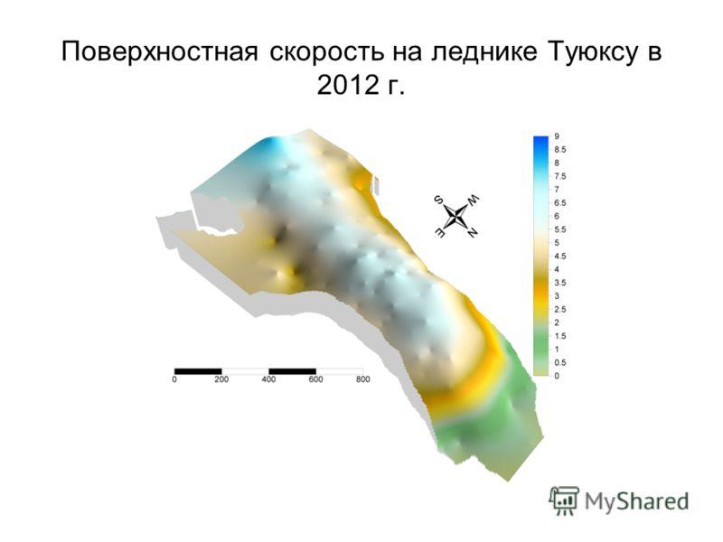Поверхностная скорость на леднике Туюксу в 2012 г.