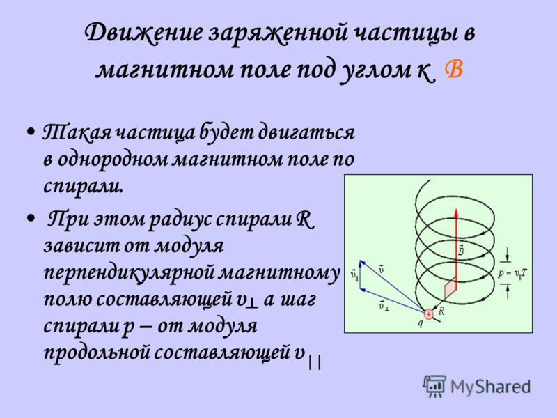 Движение заряженной частицы в магнитном поле под углом к B Такая частица будет двигаться в однородном магнитном поле по спирали. При этом радиус спирали R зависит от модуля перпендикулярной магнитному полю составляющей υ а шаг спирали p – от модуля п