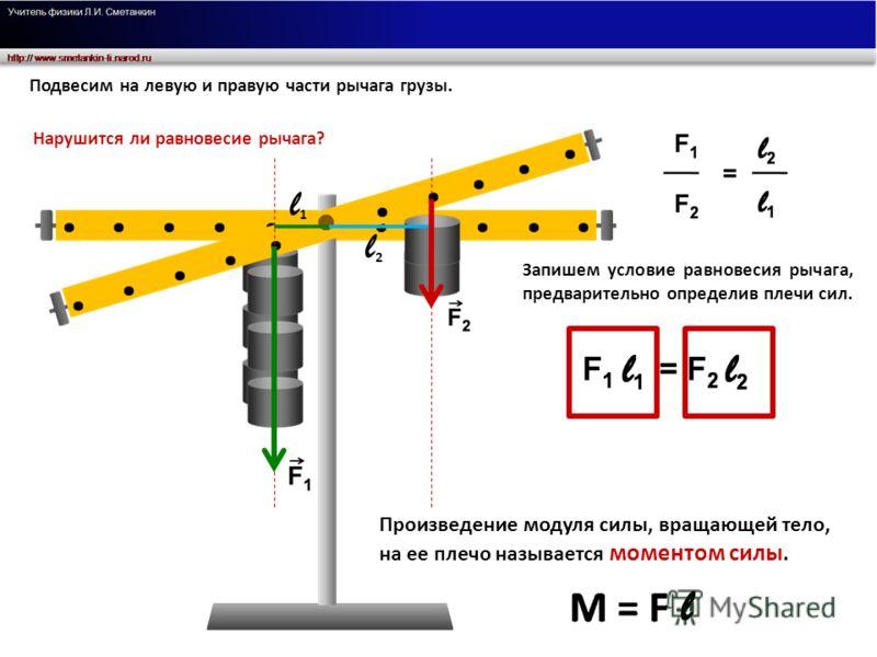 Подвесим на левую и правую части рычага грузы. Нарушится ли равновесие рычага? Запишем условие равновесия рычага, предварительно определив плечи сил. Произведение модуля силы, вращающей тело, на ее плечо называется моментом силы. l1l1 l2l2