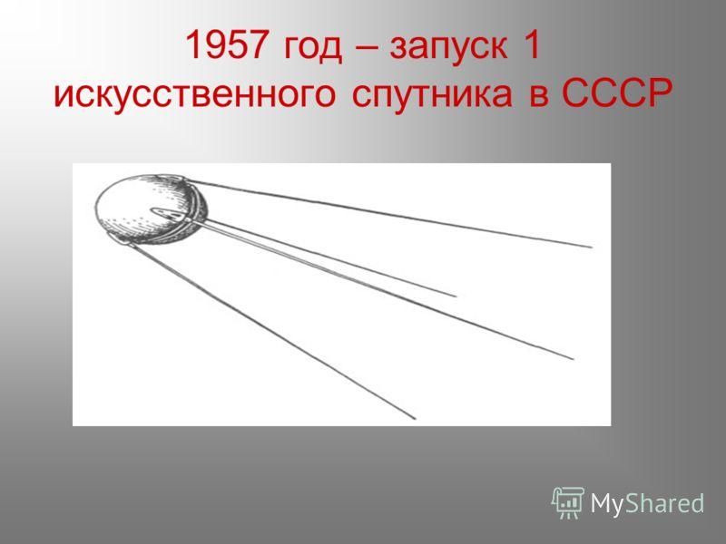 1957 год – запуск 1 искусственного спутника в СССР