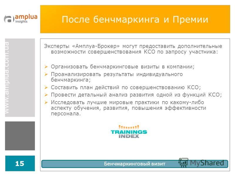 www.amplua.com.ua 15 После бенчмаркинга и Премии Эксперты «Амплуа-Брокер» могут предоставить дополнительные возможности совершенствования КСО по запросу участника: Организовать бенчмаркинговые визиты в компании; Проанализировать результаты индивидуал