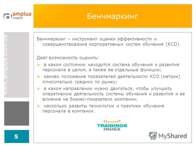 www.amplua.com.ua 5 Бенчмаркинг Бенчмаркинг – инструмент оценки эффективности и совершенствования корпоративных систем обучения (КCО). Дает возможность оценить: в каком состоянии находится система обучения и развития персонала в целом, а также ее отд