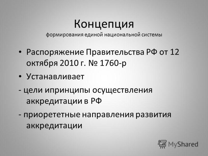 Концепция формирования единой национальной системы Распоряжение Правительства РФ от 12 октября 2010 г. 1760-р Устанавливает - цели ипринципы осуществления аккредитации в РФ - приорететные направления развития аккредитации