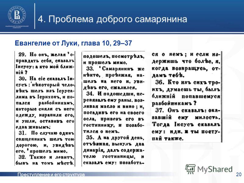 Преступление и его структура20 4. Проблема доброго самарянина Евангелие от Луки, глава 10, 29–37