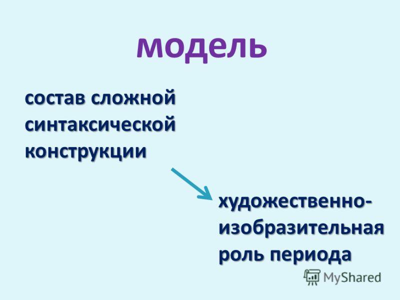 состав сложной синтаксической конструкции художественно- изобразительная роль периода модель