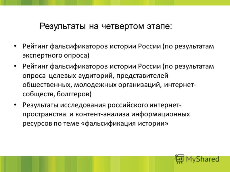 Рейтинг фальсификаторов истории России (по результатам экспертного опроса) Рейтинг фальсификаторов истории России (по результатам опроса целевых аудиторий, представителей общественных, молодежных организаций, интернет- собществ, болггеров) Результаты