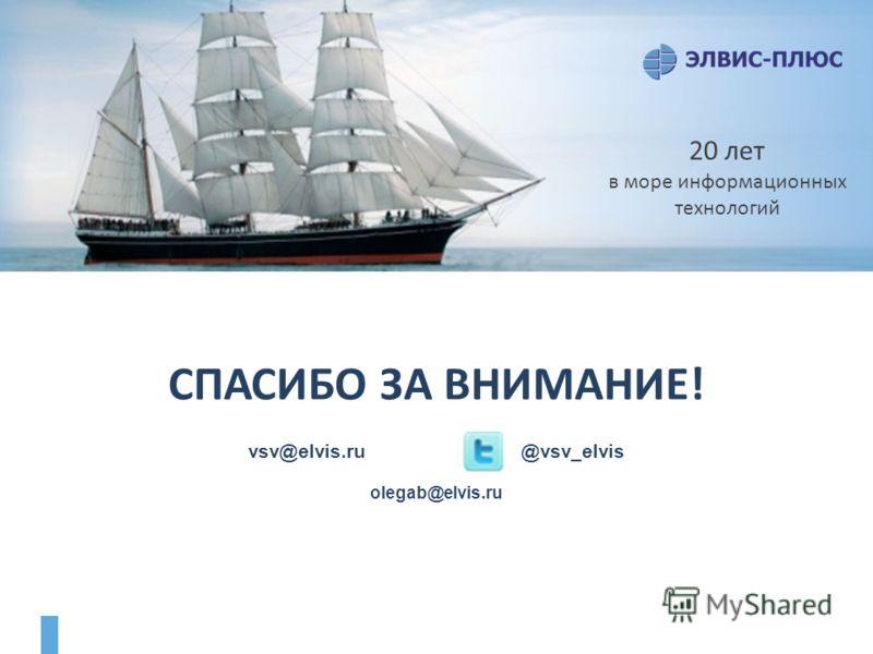 СПАСИБО ЗА ВНИМАНИЕ! vsv@elvis.ru @vsv_elvis olegab@elvis.ru 20 лет в море информационных технологий