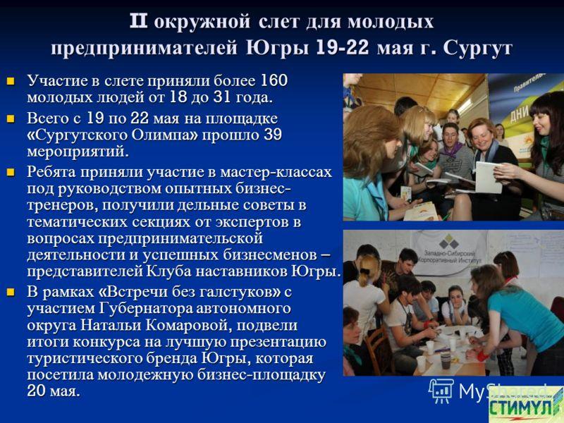 II окружной слет для молодых предпринимателей Югры 19-22 мая г. Сургут Участие в слете приняли более 160 молодых людей от 18 до 31 года. Участие в слете приняли более 160 молодых людей от 18 до 31 года. Всего с 19 по 22 мая на площадке « Сургутского