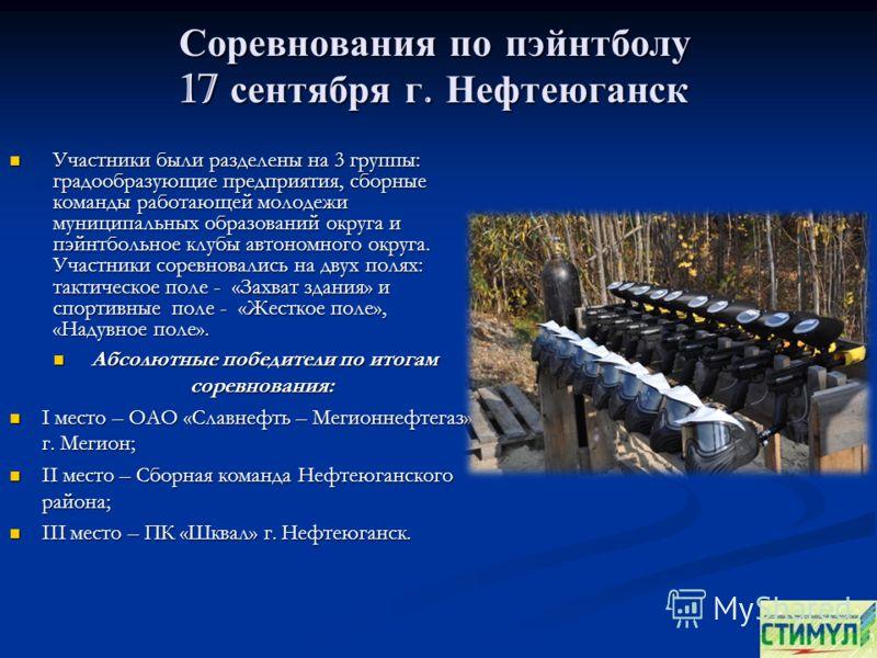 Соревнования по пэйнтболу 17 сентября г. Нефтеюганск Участники были разделены на 3 группы: градообразующие предприятия, сборные команды работающей молодежи муниципальных образований округа и пэйнтбольное клубы автономного округа. Участники соревновал