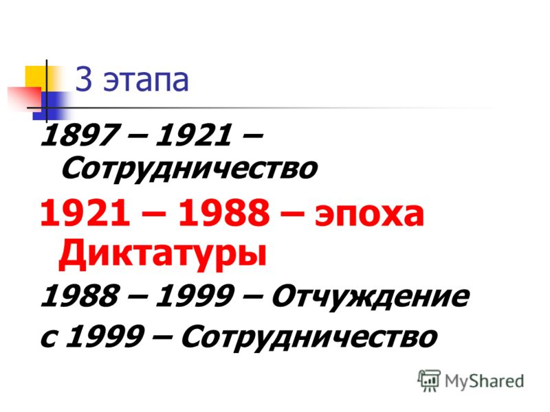 3 этапа 1897 – 1921 – Сотрудничество 1921 – 1988 – эпоха Диктатуры 1988 – 1999 – Отчуждение с 1999 – Сотрудничество